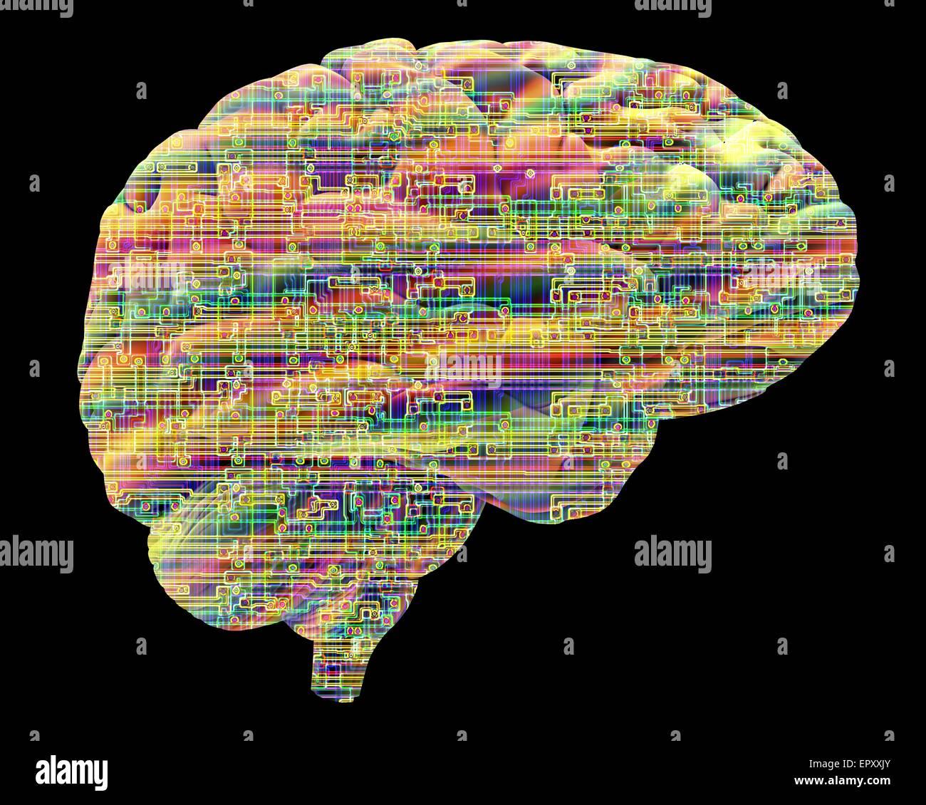 Intelligenza artificiale e cibernetica, immagine concettuale. Questa immagine di un chip per computer struttura, Immagini Stock
