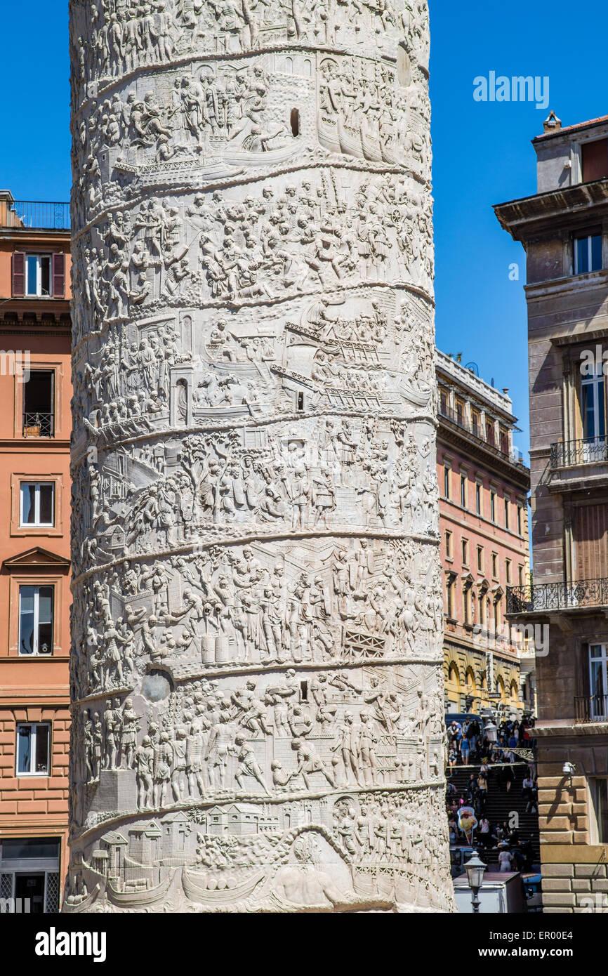 Roman Colonna di Traiano, Roma, Italia Immagini Stock