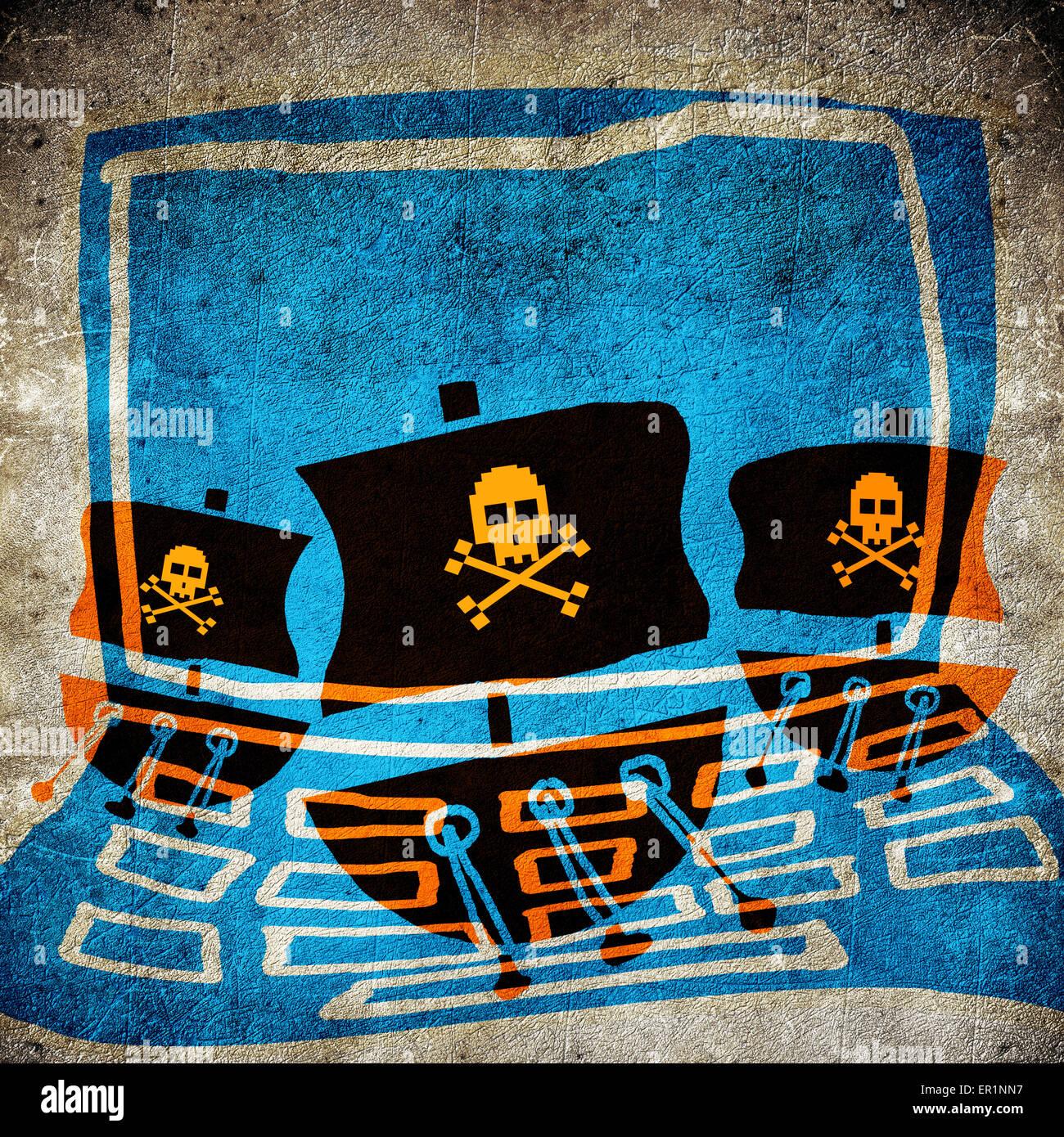 Il pirata informatico concetto illustrazione digitale Immagini Stock
