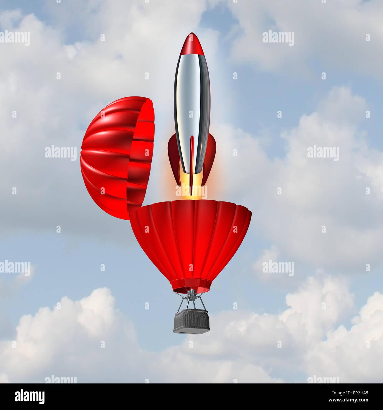 Concetto di ambizione e di edificio simbolo di slancio per il successo di un'azienda come una mongolfiera aprendo Foto Stock