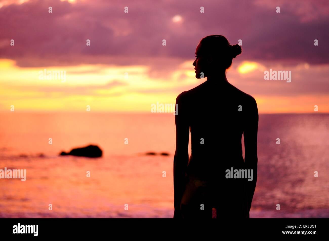 Silhouette di una donna in piedi presso la spiaggia Immagini Stock