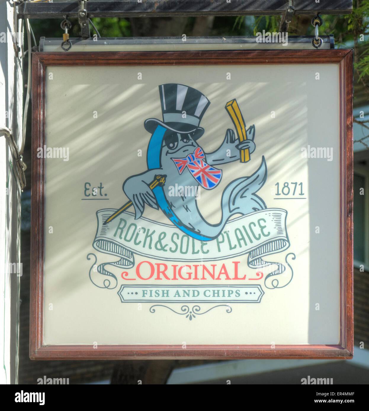 Pesce e Chip shop Covent Garden Rock & Sogliola Passera di mare Immagini Stock