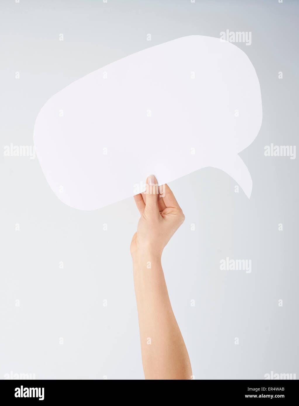 Mano azienda vuoto discorso bolla. Debica, Polonia Immagini Stock