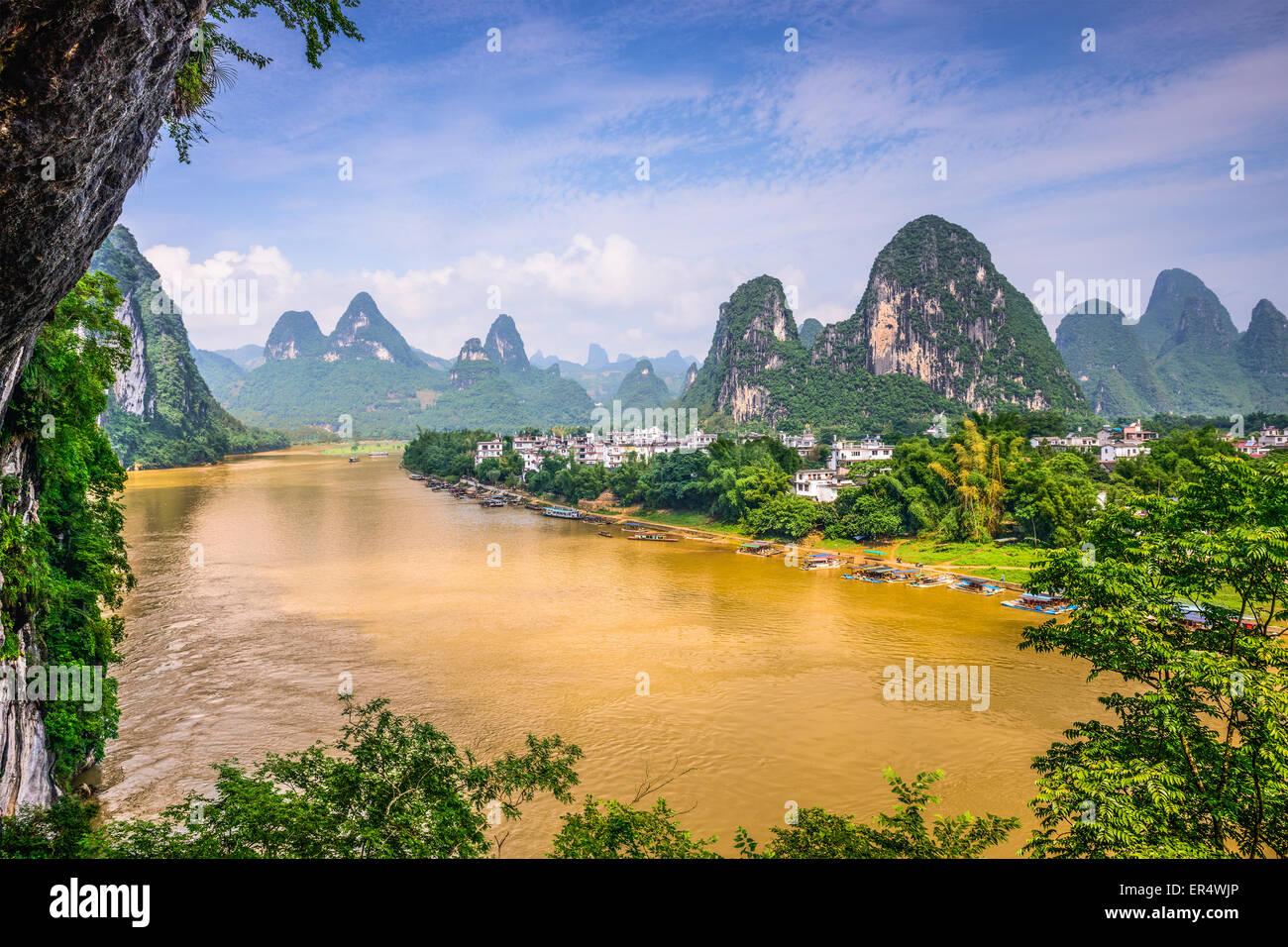 Guilin, Cina sul Fiume Li. Immagini Stock