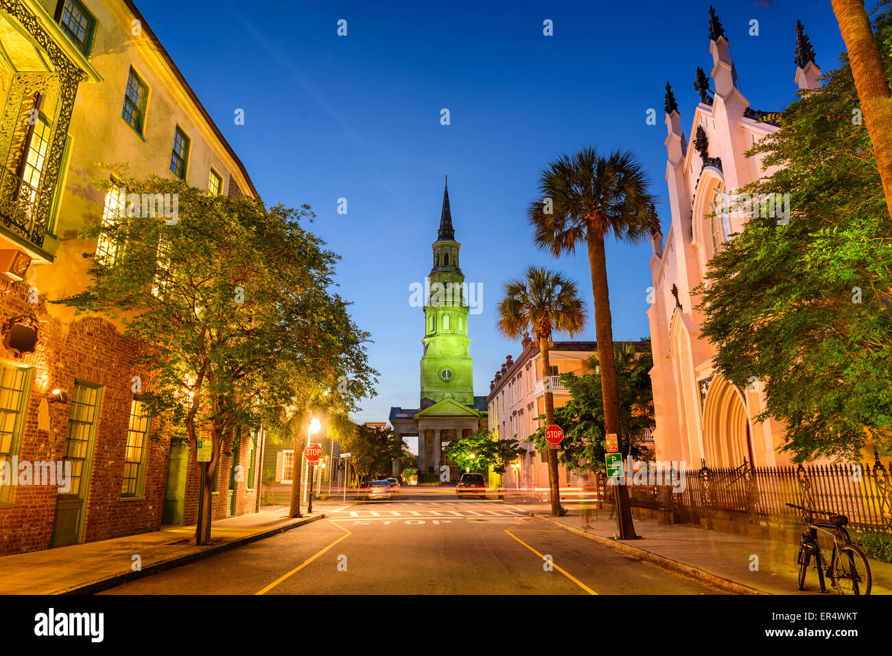 Charleston, Carolina del Sud, Stati Uniti d'America su Church Street. Immagini Stock