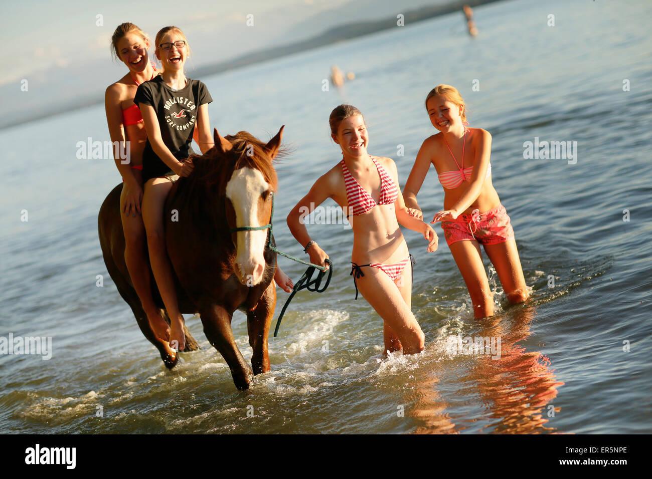 Le quattro ragazze con un cavallo nel lago di Starnberg, Ammerland, Munsing, Alta Baviera, Germania Immagini Stock