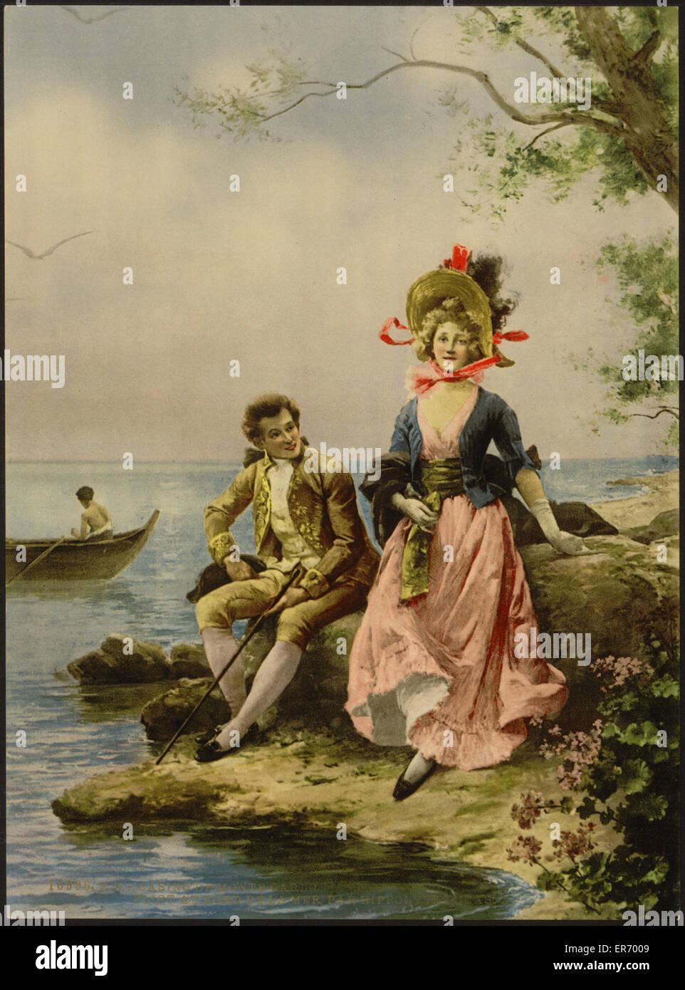 Entrata del Casinò, Flirt au bord de la Mer, da Hippolyte Lucas, Monte Carlo, Riviera. Data compresa tra ca. 1890 Foto Stock