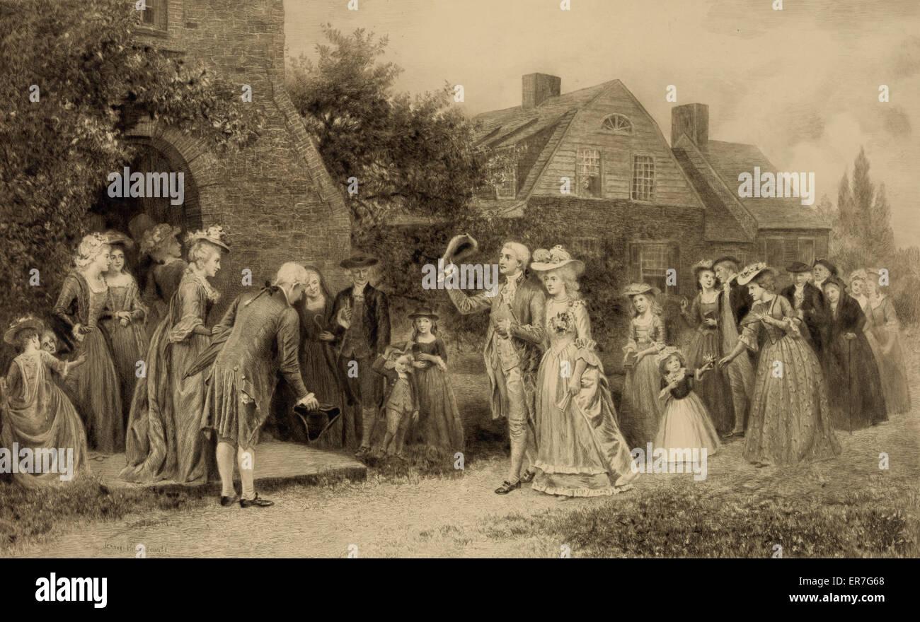 Al ritorno dal viaggio di nozze. Data c1898 ott. 25. Immagini Stock