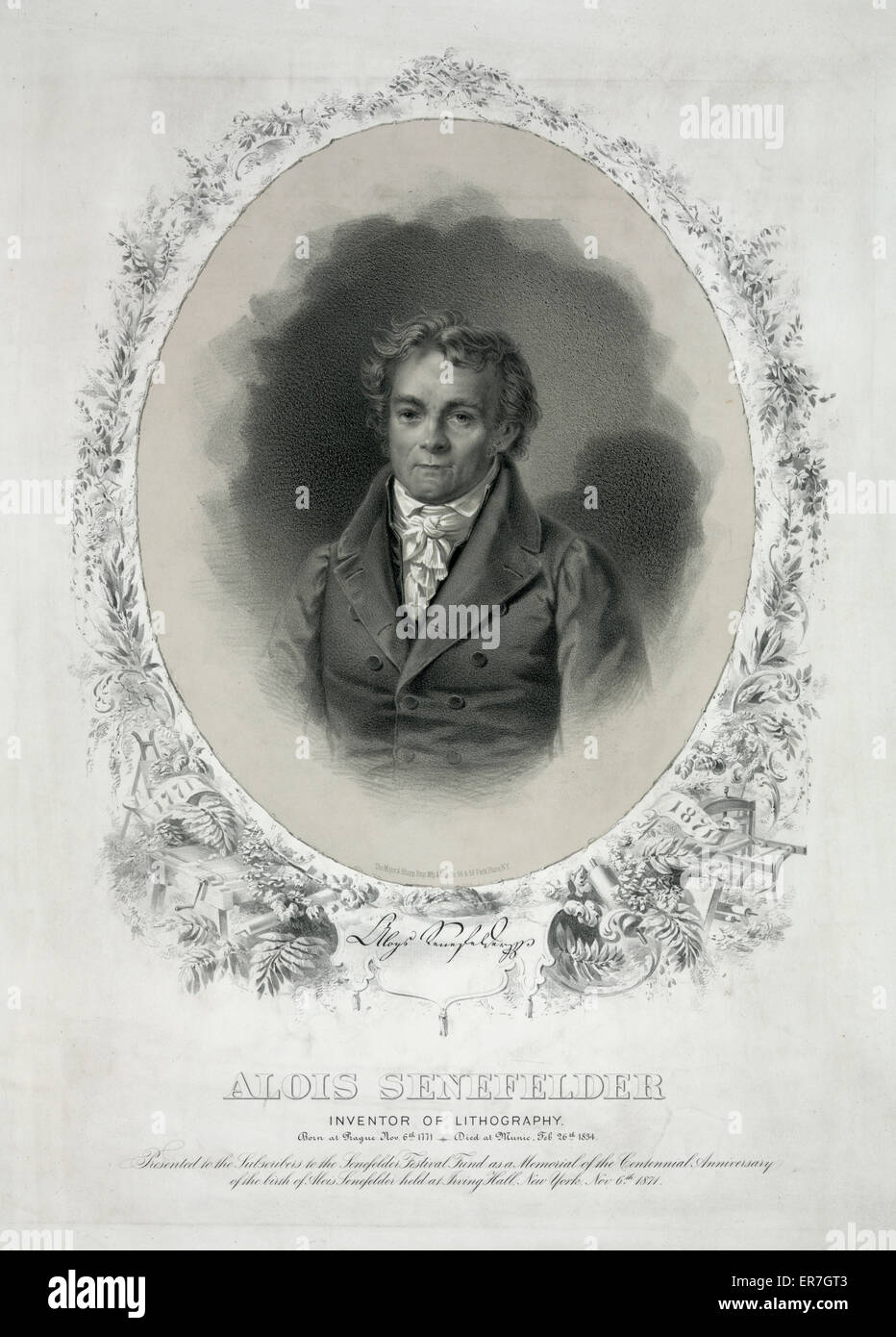 Alois Senefelder inventore di litografia. Immagini Stock