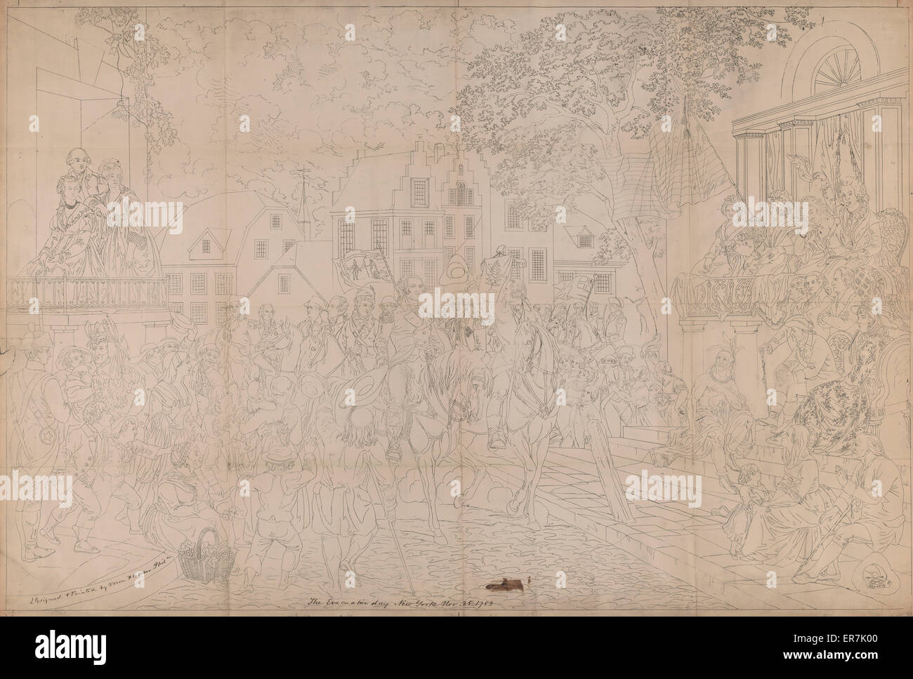 Il giorno di evacuazione. New York nov. 25 1783. Immagini Stock