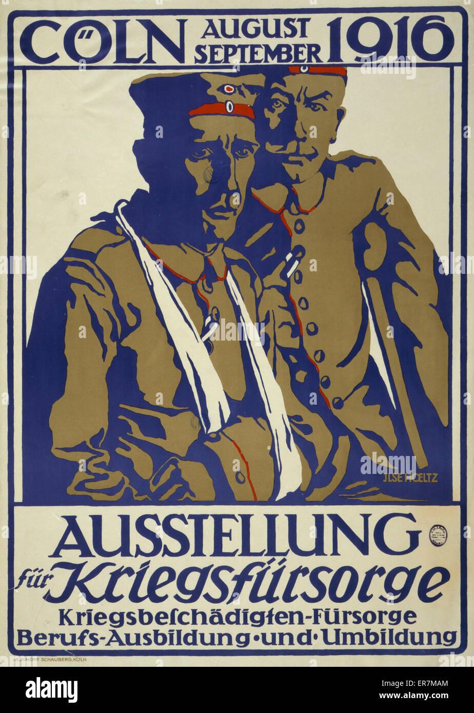 Ausstellung Kriegsfursorge pelliccia, Coln, agosto-settembre 1916; Kriegsbeschadigten-fursorge, Berufs-Ausbildung Immagini Stock