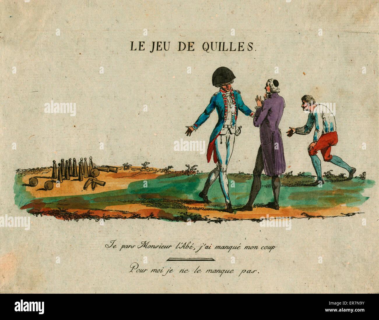 Le jeu de quilles. Stampa mostra un membro della nobiltà di lamentarsi per un membro del clero che rappresentano Immagini Stock