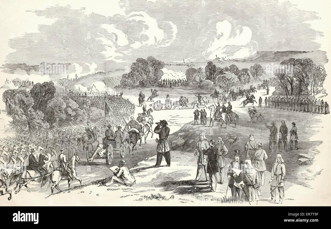 La battaglia di Bull Run, tra l'esercito federale, comandata dal maggiore generale McDowell, e l'esercito Immagini Stock