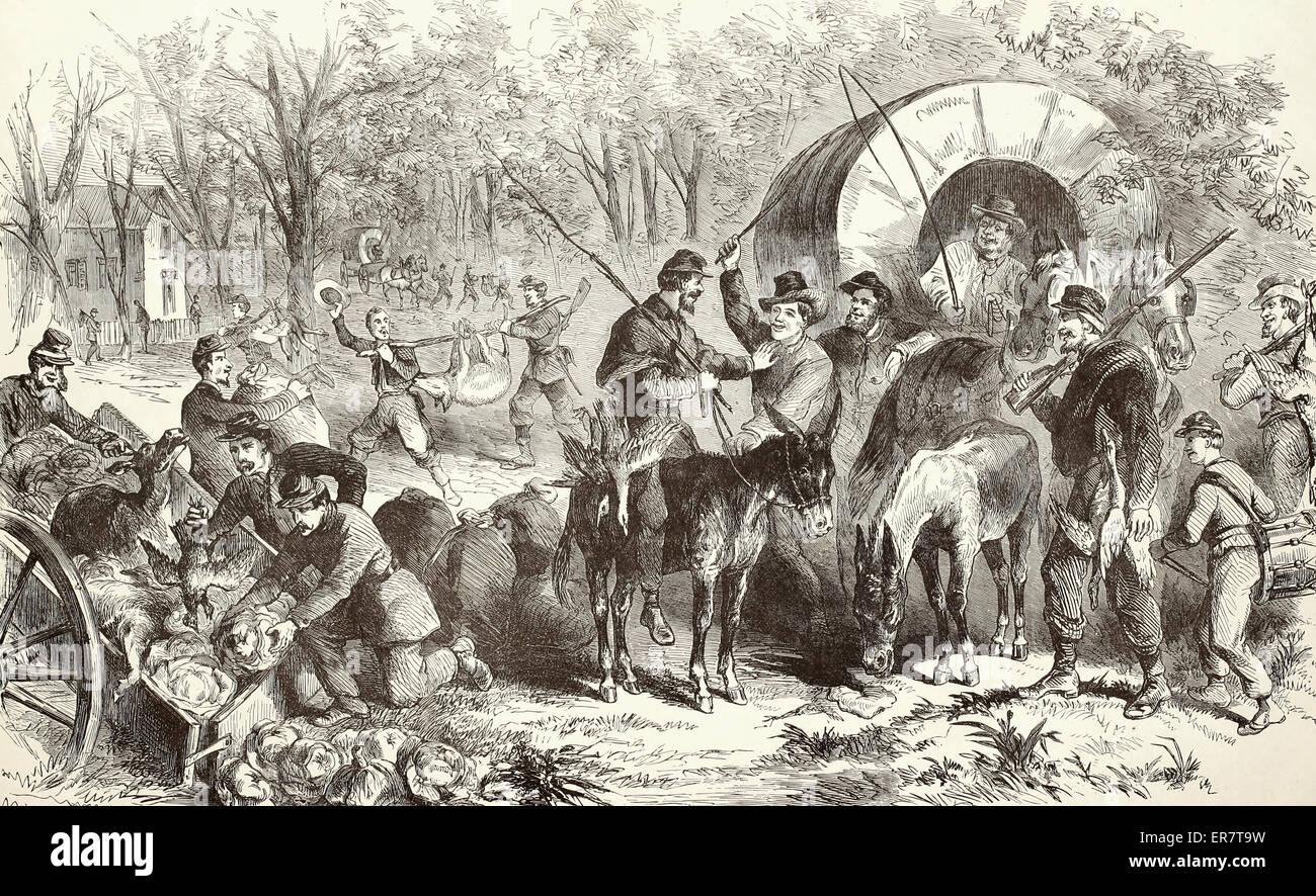 Il ritorno di un foraggio federale delle parti in campo vicino Annandale Cappella, Virginia USA GUERRA CIVILE Immagini Stock