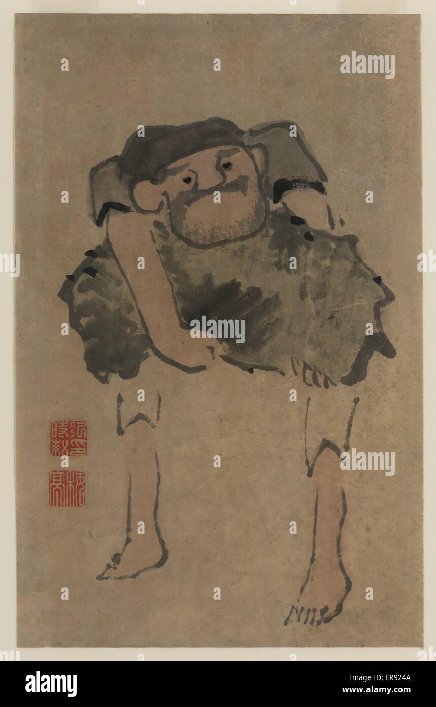 Un uomo che porta un oggetto di grandi dimensioni. Data compresa tra 1760 e 1810. Immagini Stock
