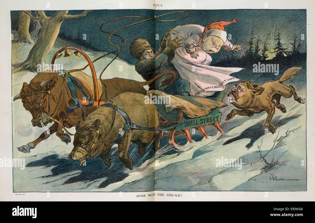 Oltre con il che-mild!. La figura mostra una slitta etichettato Wall Street  trainato da un toro e un orso 812826e55633