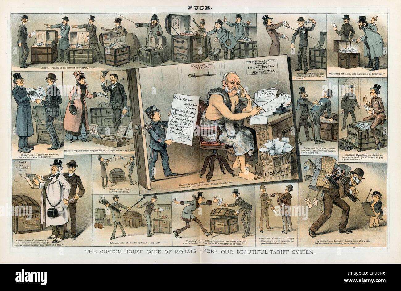 Il custom-house codice morale sotto il nostro bel sistema tariffario. La figura mostra un cartoon vignette con William Immagini Stock