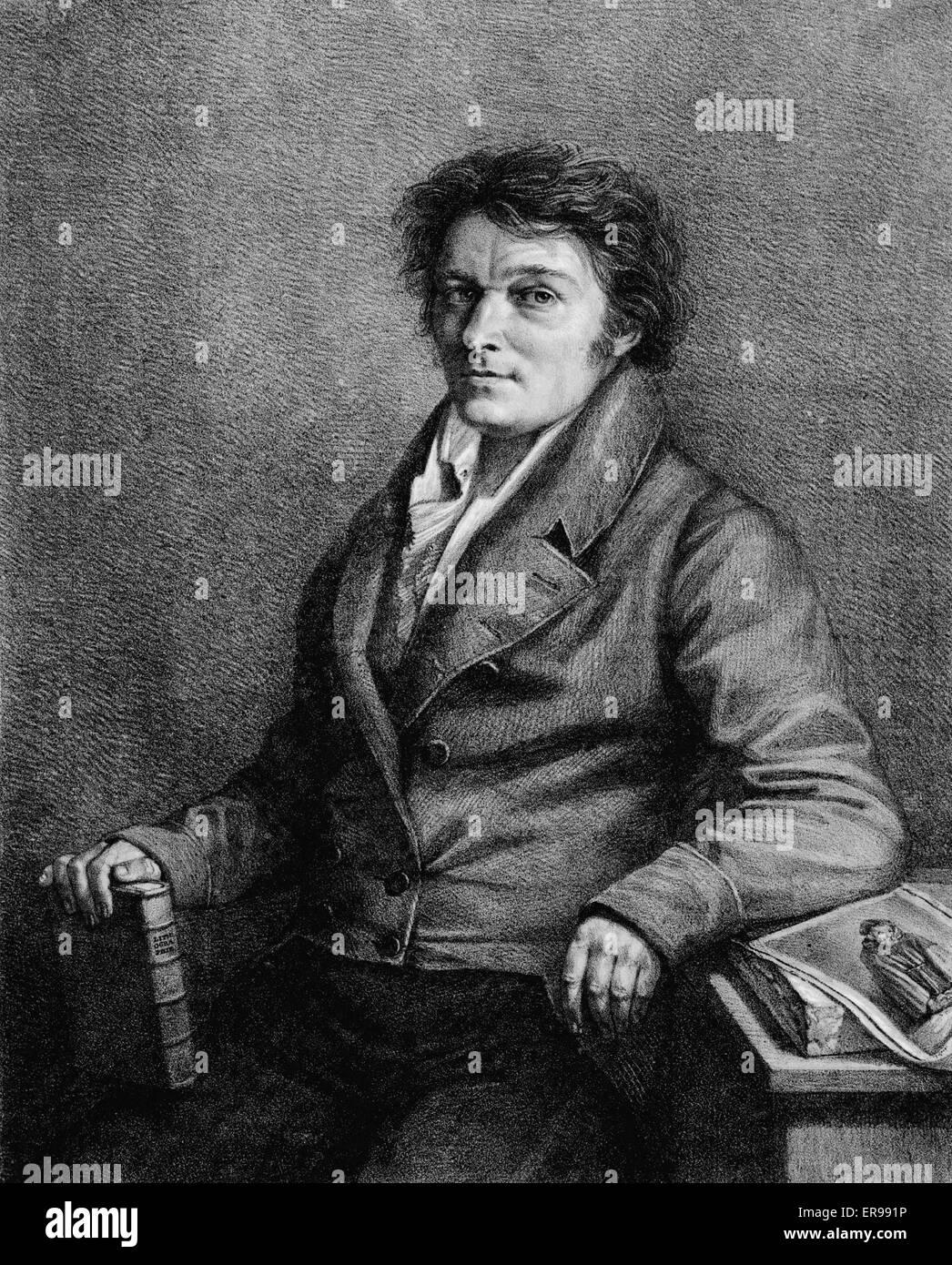 Alois Senefelder, inventore della stampa litografia, ritratto, seduto, rivolto verso sinistra. 1818 Immagini Stock