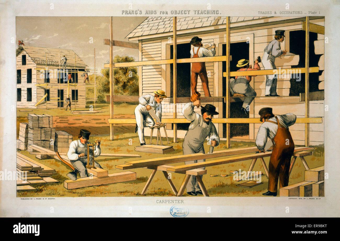Prang di aiuto oggetto di insegnamento--carpentiere. Gli uomini la costruzione di due case. Data c1874. Immagini Stock