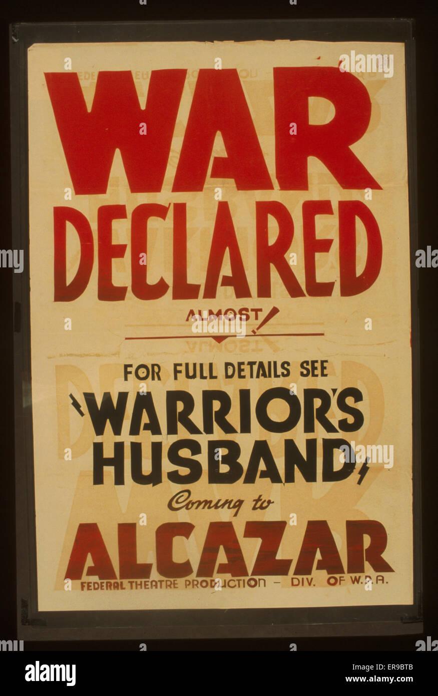La guerra dichiarata quasi! : Per i dettagli completi vedere Warrior's marito proveniente da Alcazar. Poster Immagini Stock