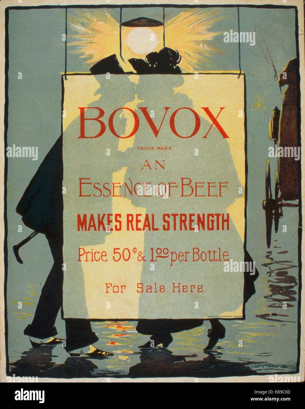 Marchio Bovox - un essenza di carni bovine rende la vera forza. Poster pubblicitario che mostra un paio di baciare Immagini Stock