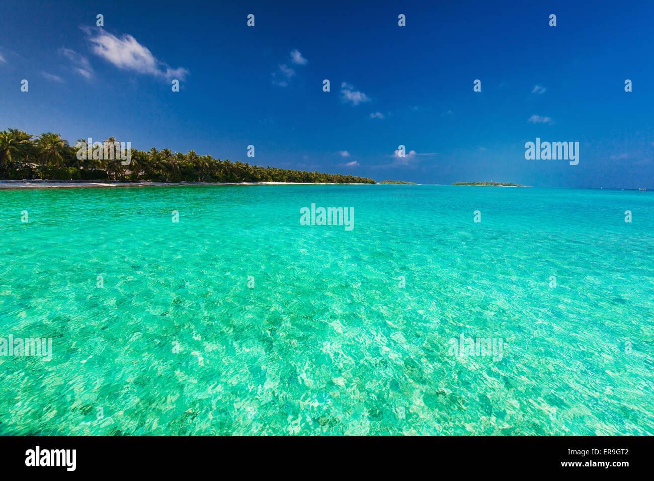 Isola tropicale con spiaggia sabbiosa, cielo chiaro e immacolate acque Immagini Stock