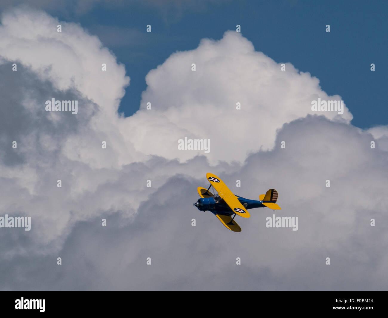Il faggio YC-43 ala sfalsati biplano, Rocky Mountain Air Show, Aurora serbatoio, Colorado. Immagini Stock