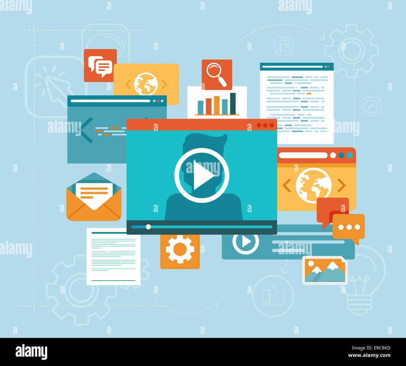 L'E-learning concept in stile piatto - i contenuti digitali e webinar online icone Immagini Stock