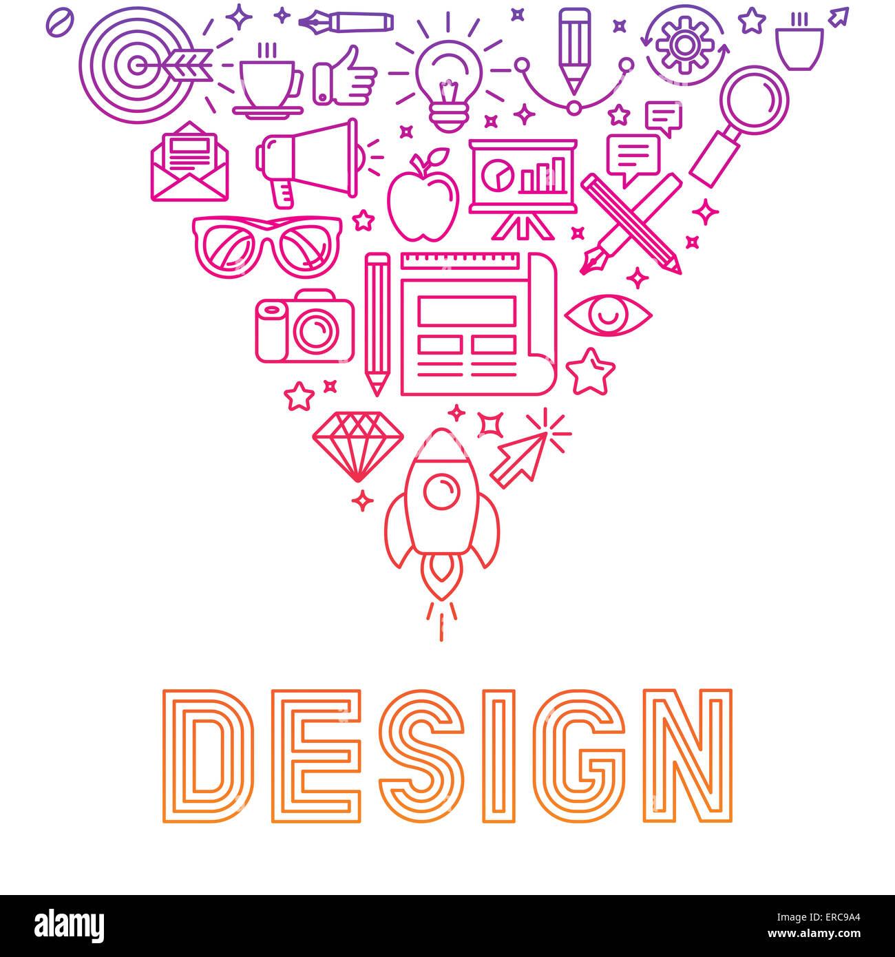 Logo lineare design concept - illustrazione con le icone e le indicazioni relative al graphic design e il processo Immagini Stock