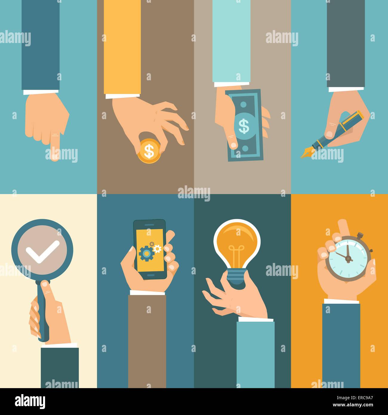 I concetti di business in uno stile piatto - le icone delle mani Immagini Stock