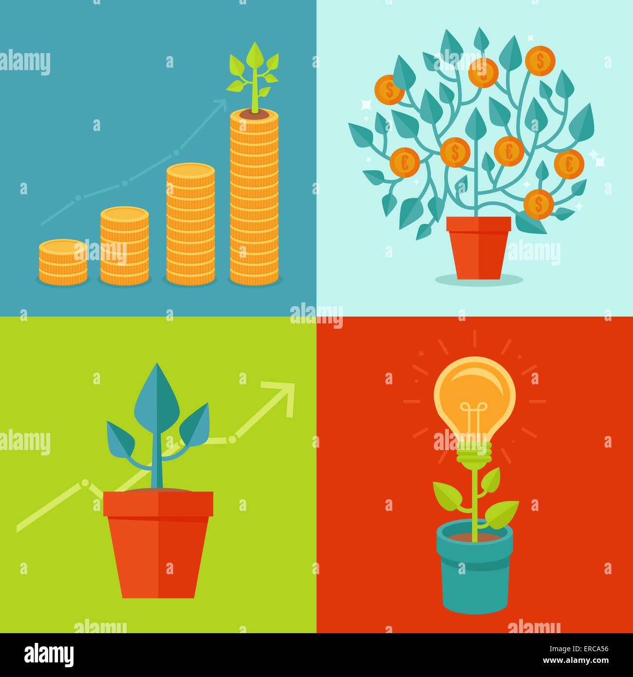 Concetti di crescita in stile piatto - illustrazioni relative al progresso e allo sviluppo Immagini Stock