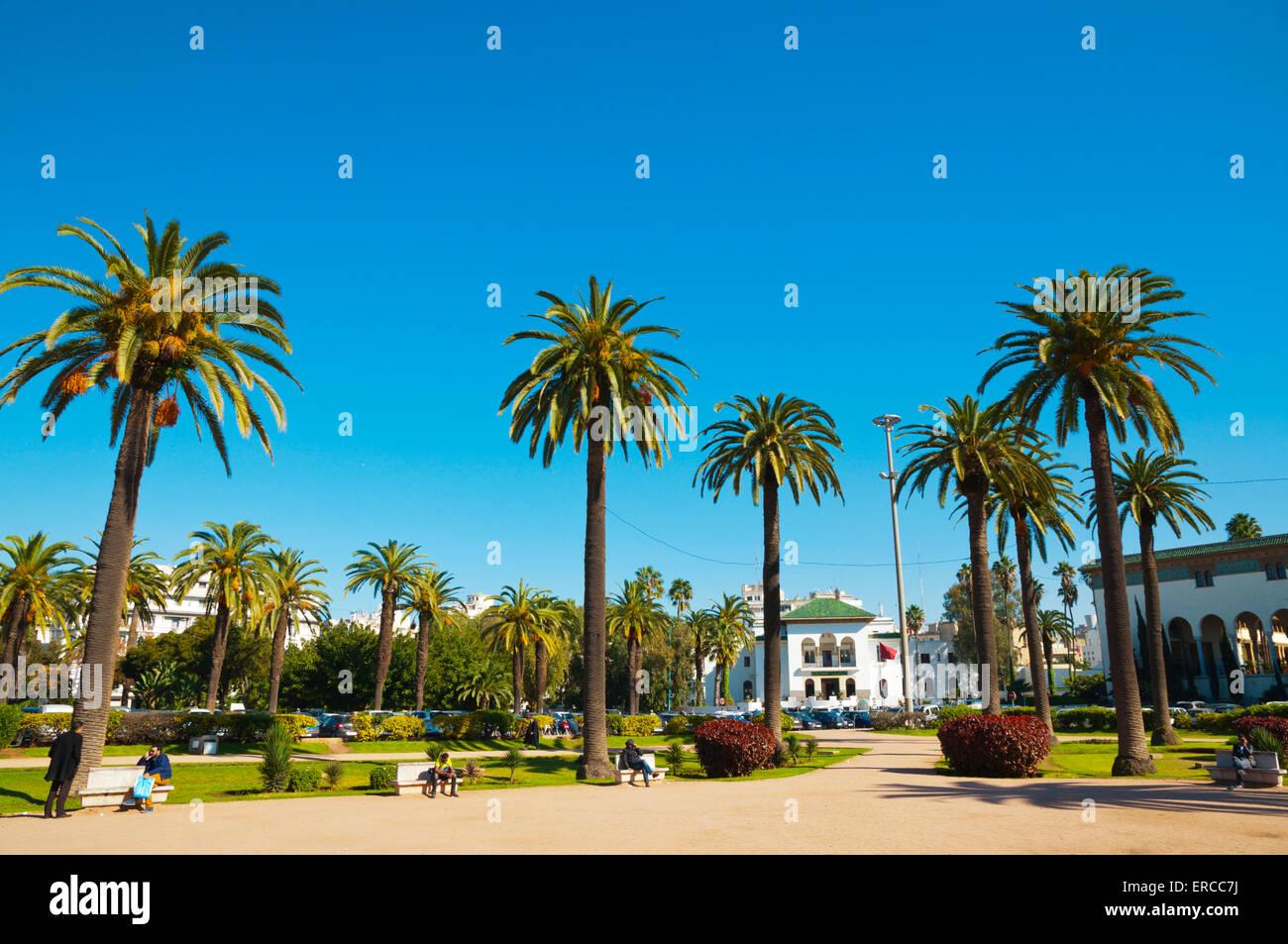 Luogo di Mohammed V, Ville Nouvelle, Casablanca, costa atlantica, Marocco, Africa settentrionale Immagini Stock