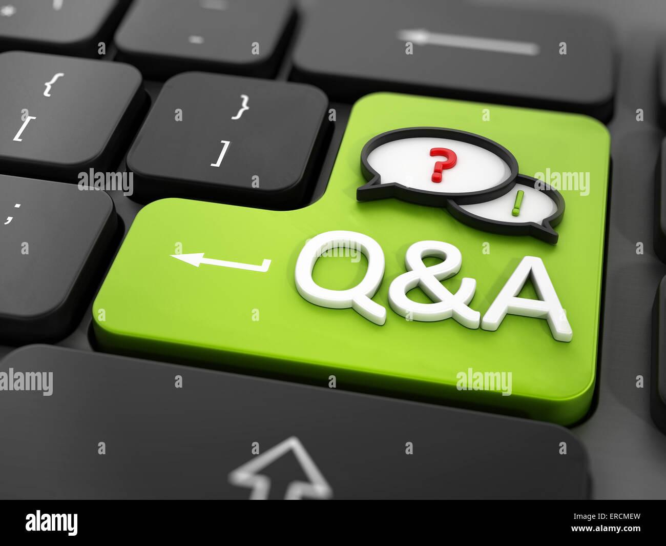 Domande e risposte sulla tastiera Immagini Stock