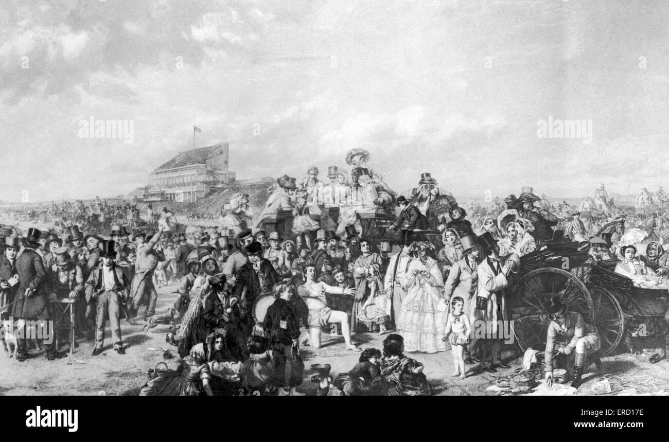 Illustrazione di corse di cavalli - cronologia Derby scena, circa 1850. Immagini Stock
