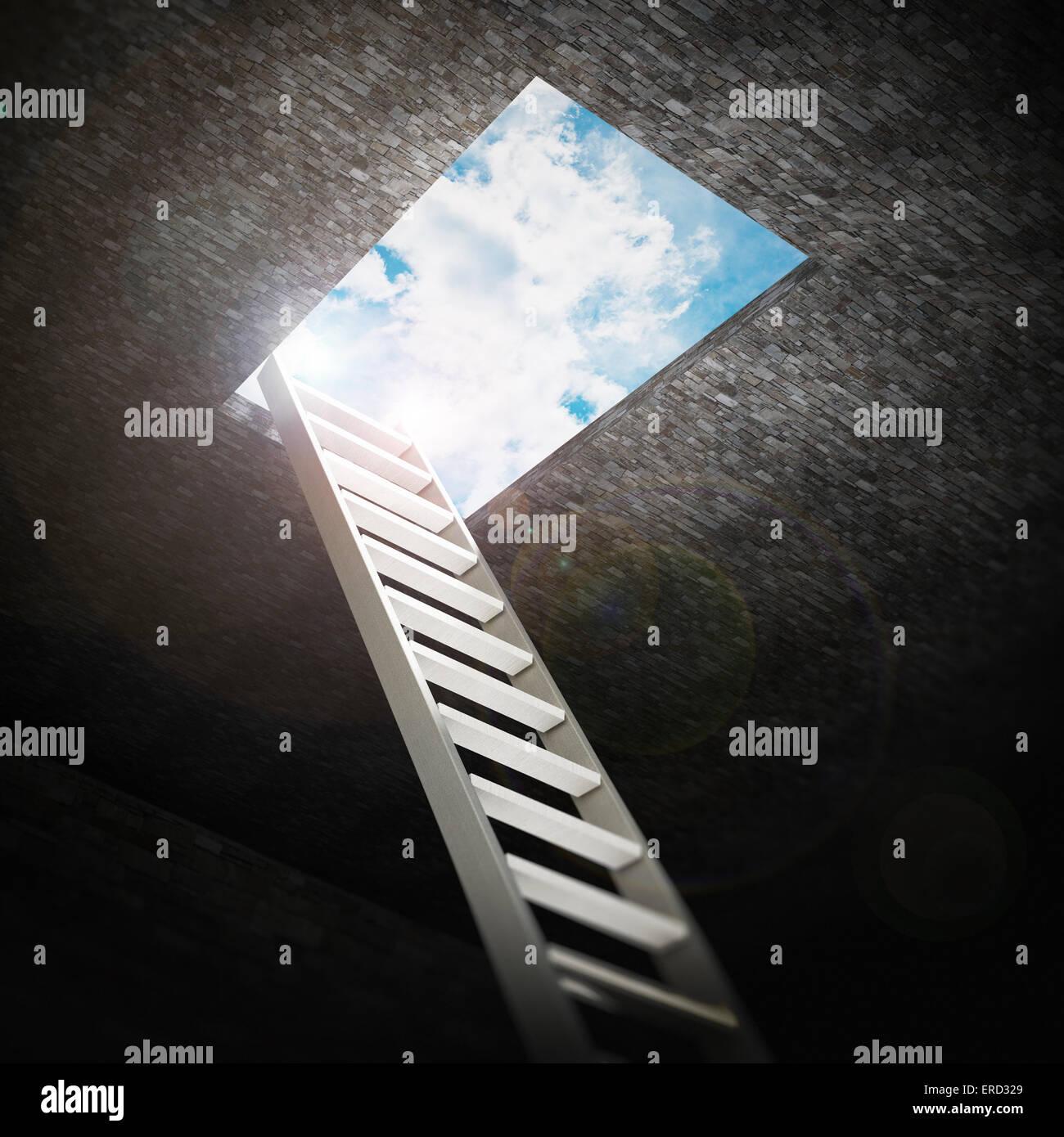 Scaletta che porta all'apertura per il blu del cielo. Immagini Stock
