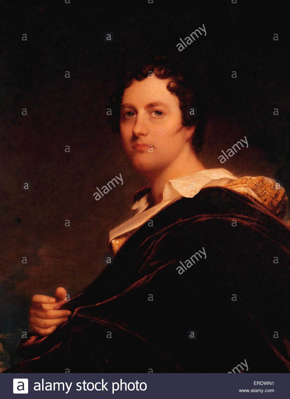 Lord Byron la pittura ad olio da W e l'Occidente. George Gordon Byron, sesto Barone Byron. Poeta inglese 22 Immagini Stock