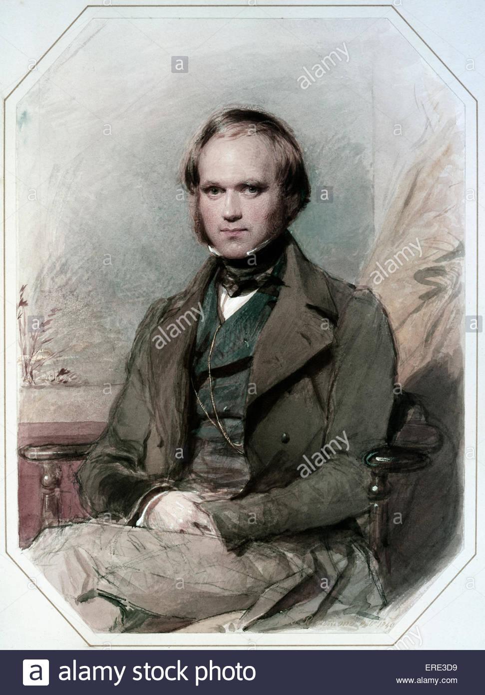 Charles Darwin - Ritratto di George Richmond, 1840. CD, scienziato inglese: 12 Febbraio 1809 - 19 aprile 1882. GR, Immagini Stock