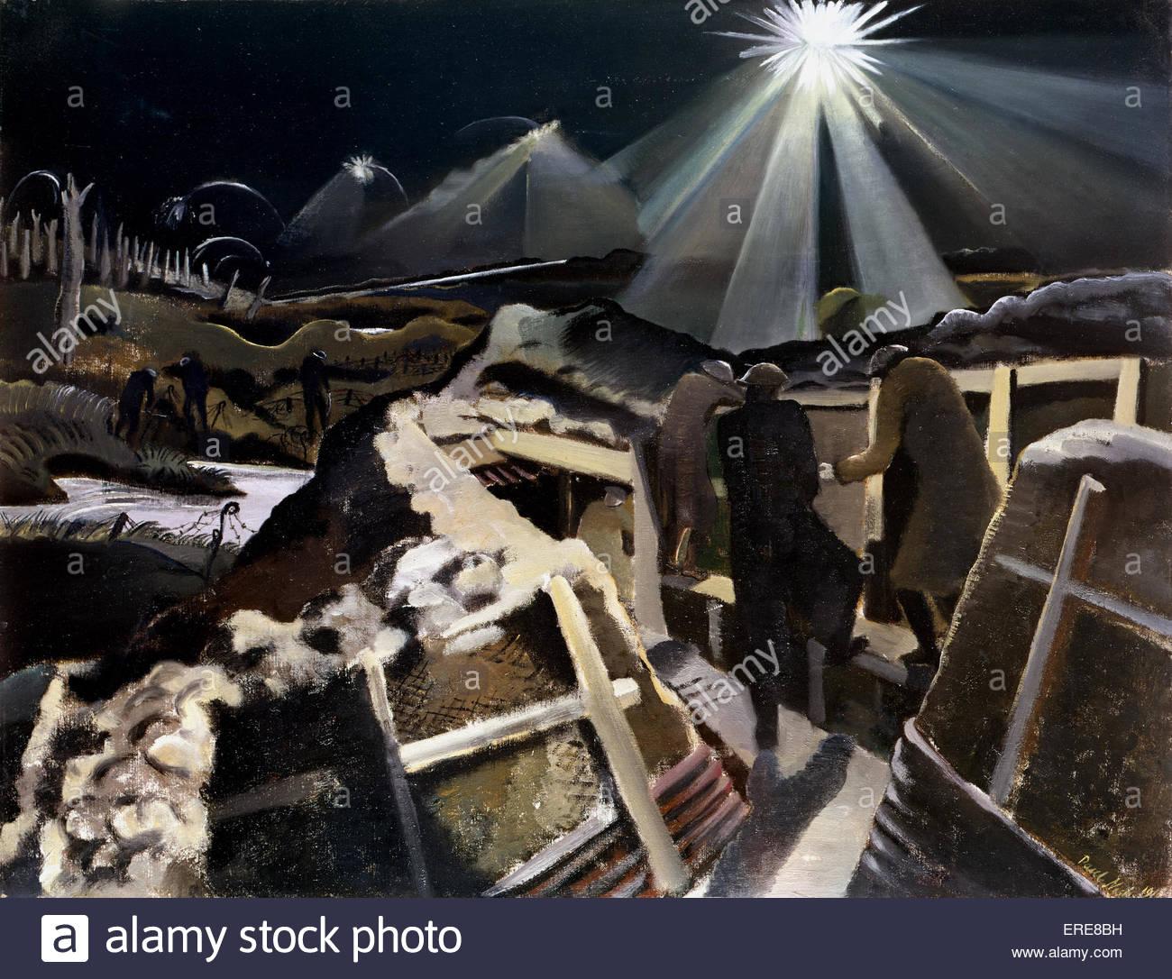 Ypres salienti e di notte, dipinto da Paul Nash (1889-1946) da WW1 series. La cortesia Imperieal museo della guerra. Immagini Stock