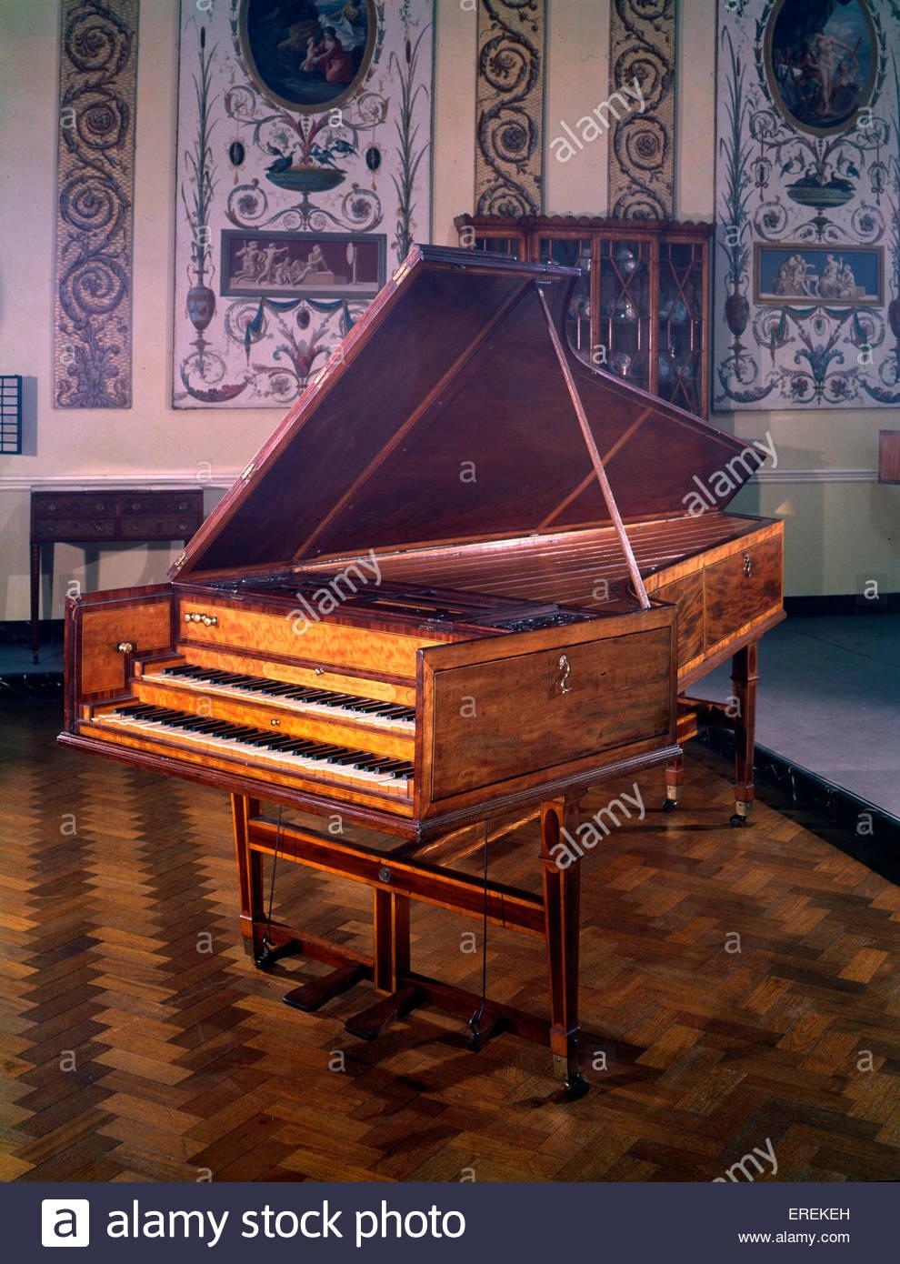 Il clavicembalo, fatta da Shudi (Tschudi) & Broadwood, Inghilterra, 1782. (V & A Museum di Londra). Immagini Stock