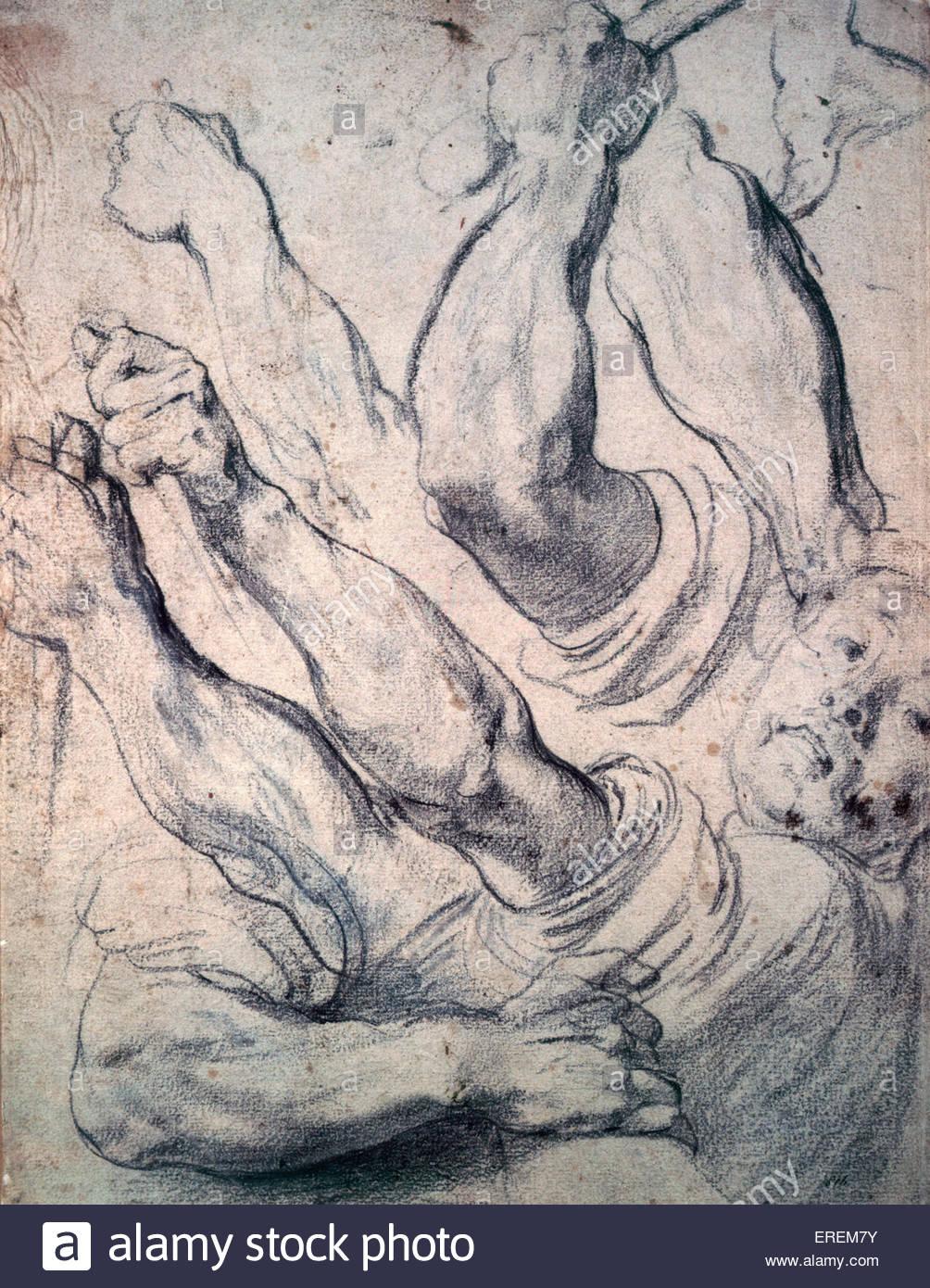 Studi di armi da parte di Peter Paul Rubens. Fine 16th/inizio del XVII secolo, 11,9 x 15,5 pollici, disegno in gesso Immagini Stock