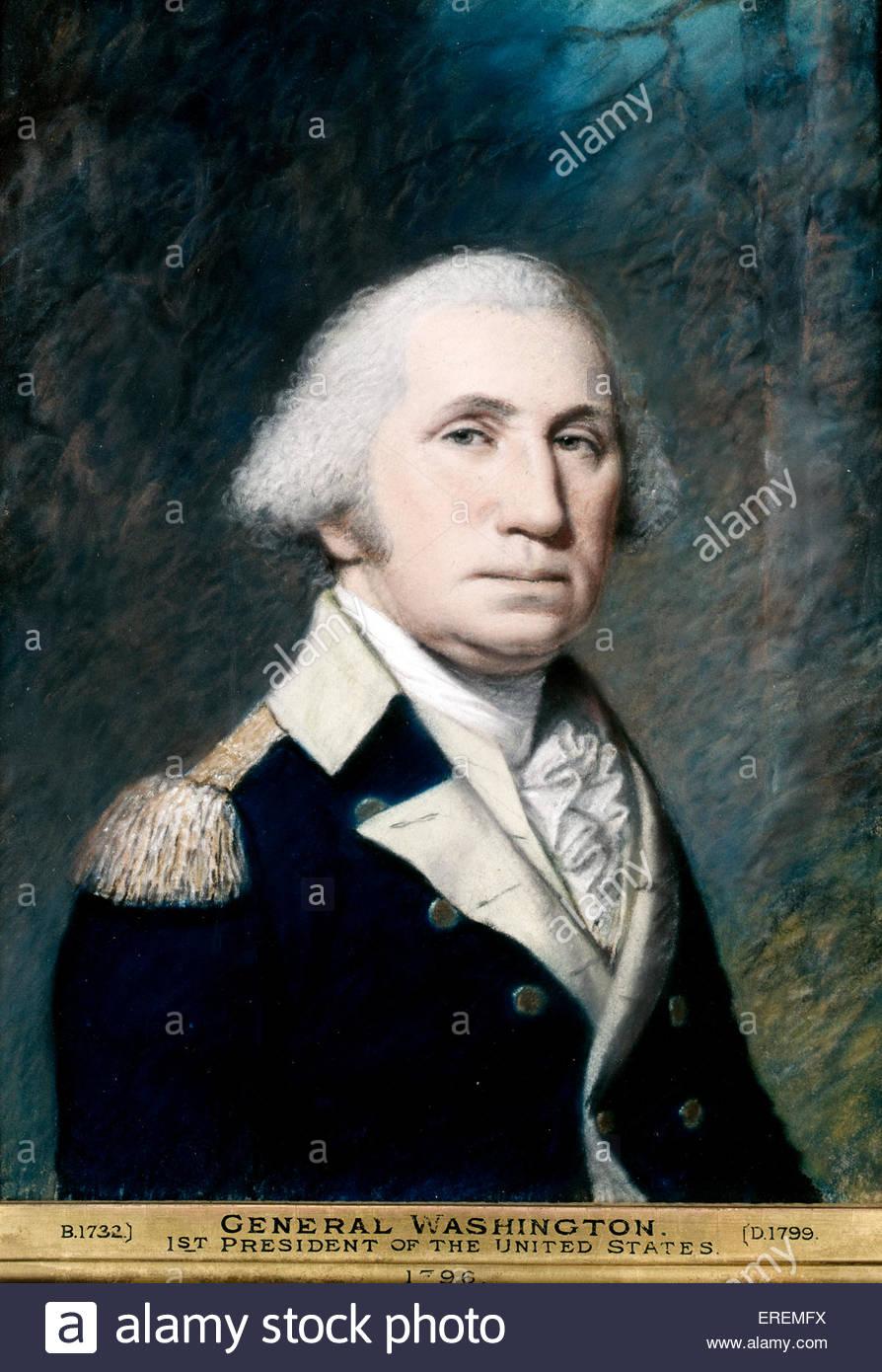 George Washington da James Sharples. Primo presidente costituzionale degli Stati Uniti d'America dal 1789 al Immagini Stock