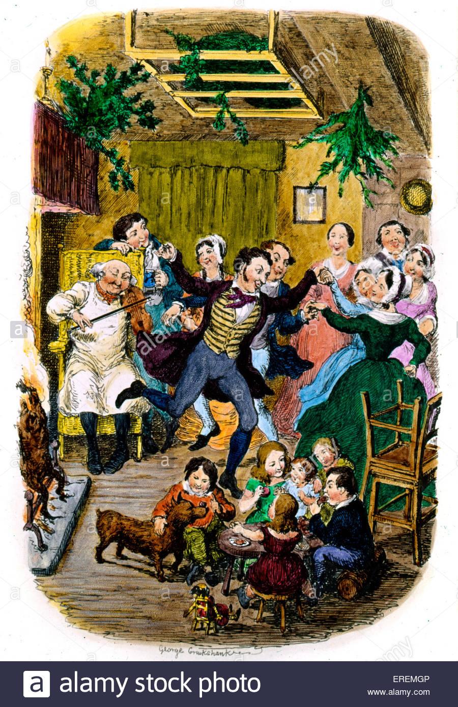 Victorian Natale carta da George Cruikshank, British caricaturista e illustratore di libri (1792 - 1878).la cortesia Immagini Stock