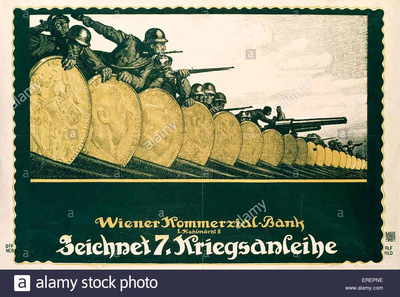 Guerra Mondiale 1 poster - Austrian. Incoraggiare l'acquisto di obbligazioni di guerra. La didascalia recita: Immagini Stock