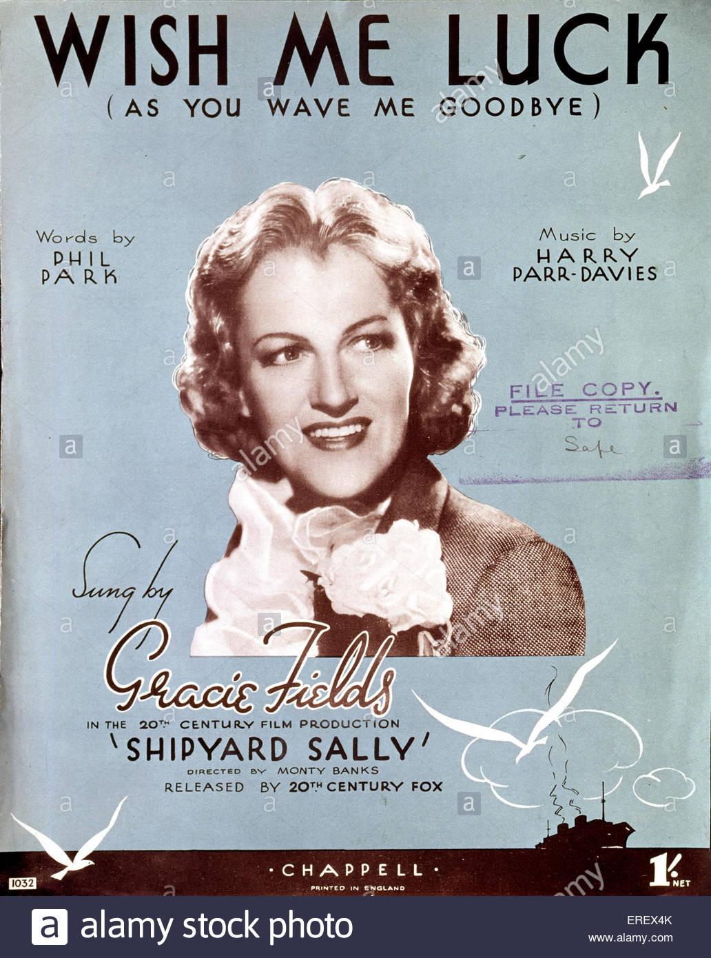 """Cantiere Sally (1939 film) - coperchio di punteggio per la canzone """"Wish Me Luck (come lei mi Wave addio)'. Immagini Stock"""