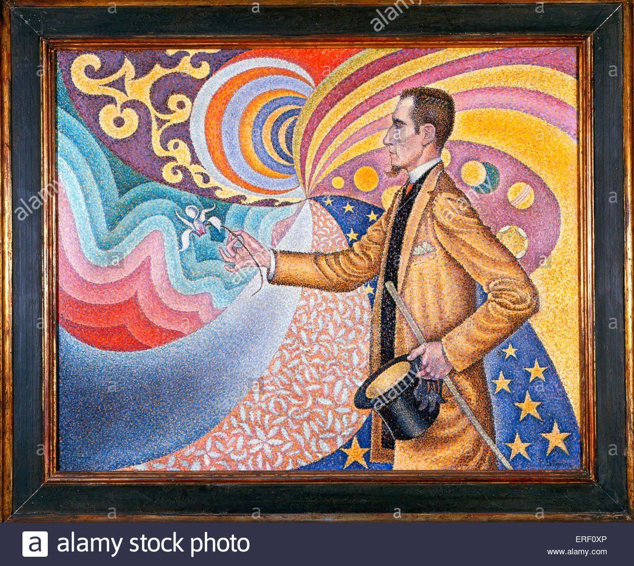 Paul Signac - pittura , 'contro lo smalto di un Bakground ritmica con Beats e gli angoli, di toni e colori, Immagini Stock