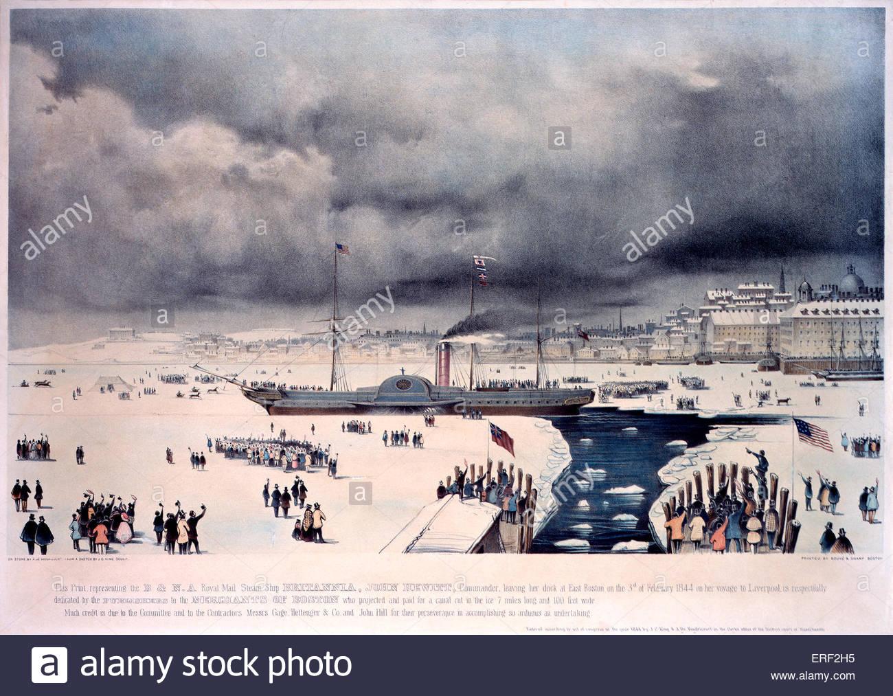 La Cunard Royal Mail Steamship Britannia' - lasciando East Boston per Liverpool, 3 febbraio 1844. Via canal Immagini Stock