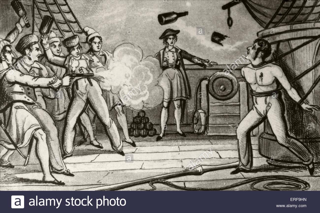 Massacro di capitano Skinner. Illustrazione del XIX secolo. Immagini Stock