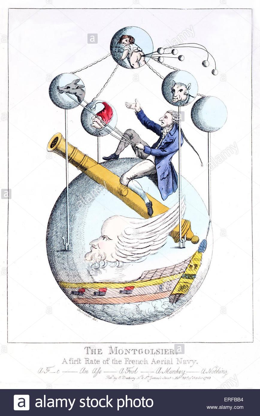 """Xviii secolo satirico di illustrazione, """"Montgolfier"""", che caratterizza le possibilità di viaggi Immagini Stock"""