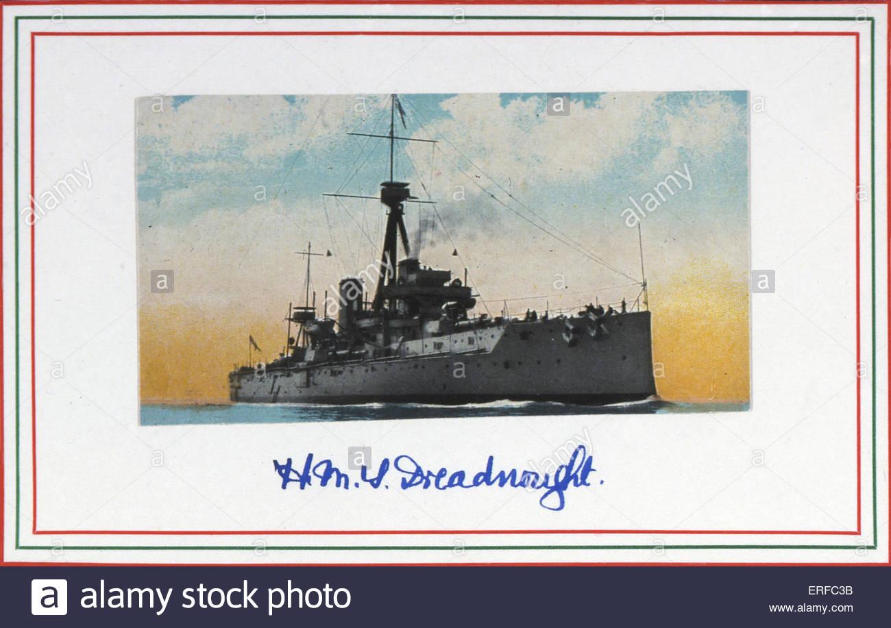 HMS Dreadnought, inizi del ventesimo secolo la cartolina. Immagini Stock