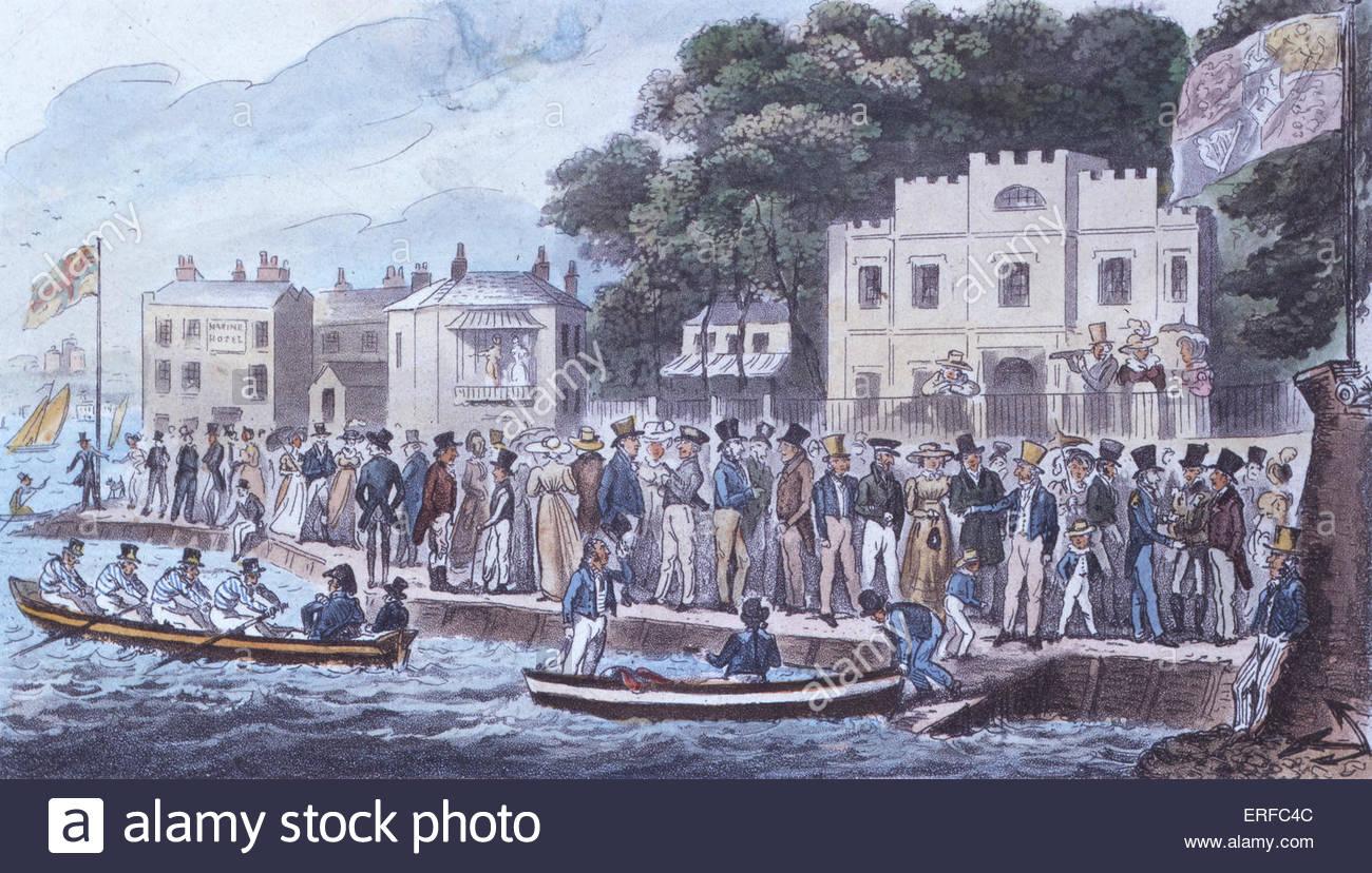La passeggiata a Cowes, cartoon da Robert Cruikshank, 1825. Pubblicato da Sherwood e Co. La cortesia del Royal Yacht Immagini Stock